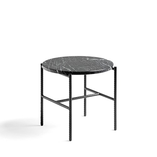 Rebar Round Side Table Marble Table Top (930203)