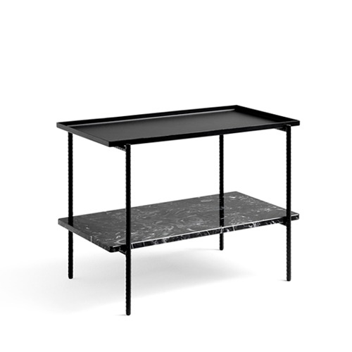Rebar Rectangular Side Table Black Steel and Marble (930205)
