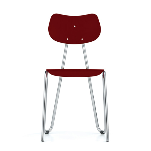 Arno 417 ChairRed Stained Beech/Chrome