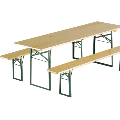 Folding Table&Bench Set Classic Natural/Green Frame