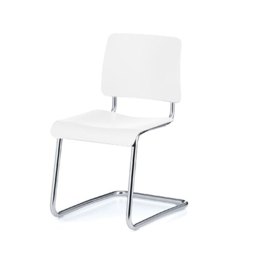 Weimar 5012 ChairWhite Lacquered Beech/Chrome Frame (0451)
