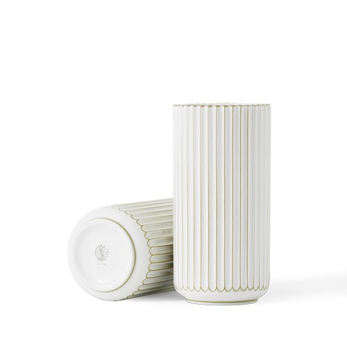 Lyngby Vase with gold detailed thin H205 White (200695)